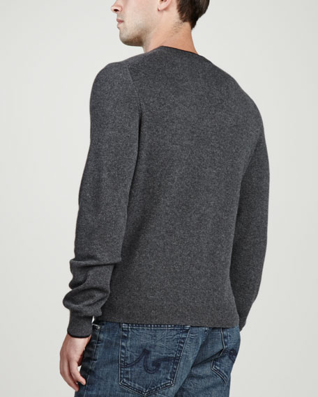 Contrast-Tipped Cashmere Pique Sweater, Gray