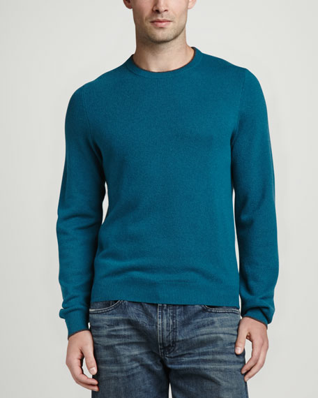 Contrast-Tipped Cashmere Pique Sweater, Green