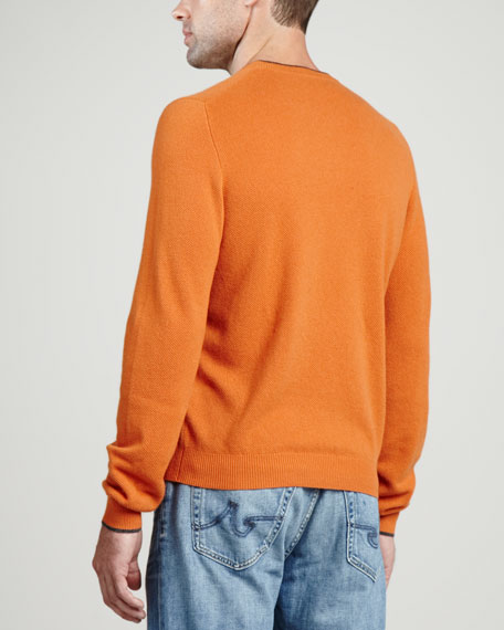 Contrast-Tipped Cashmere Pique Sweater, Orange