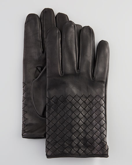 Men's Woven Leather Gloves, Black