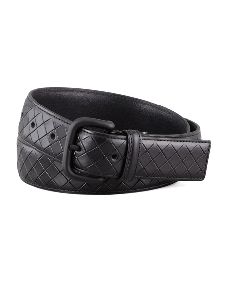 Bottega Veneta Scolpito Scored Leather Belt, Black