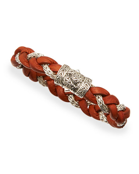 NM Exclusive Cognac Leather & Sterling Silver Bracelet