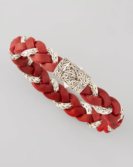 Men's Chain-Woven Braided Leather Bracelet, Red