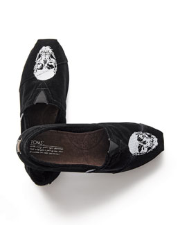 TOMS Men's Velvet Embroidered-Skull Slip-On