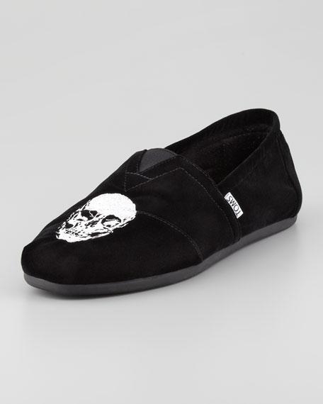 Men's Velvet Embroidered-Skull Slip-On