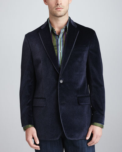 Robert Graham Cobb Patterned-Velvet Sport Coat