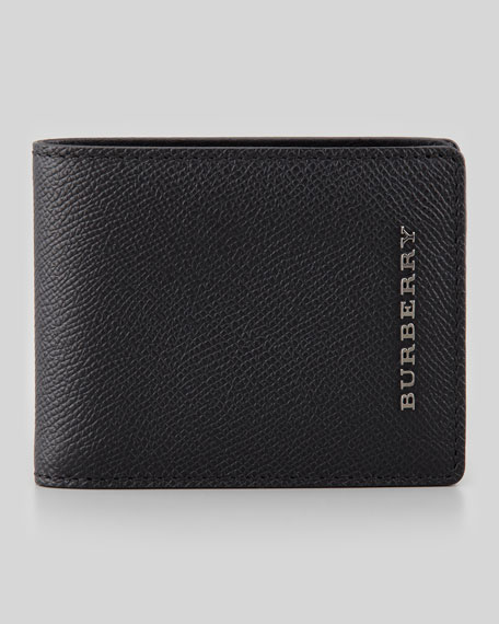 Burberry Pebbled Leather Hip-Fold Wallet, Black