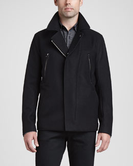 Theory Zip-Placket Wool Coat, Black