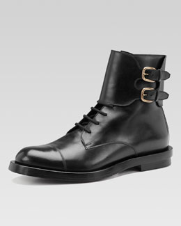 Gucci Leather Double-Buckle Military Boot, Black