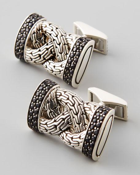Classic Chain Black Sapphire Cuff Links