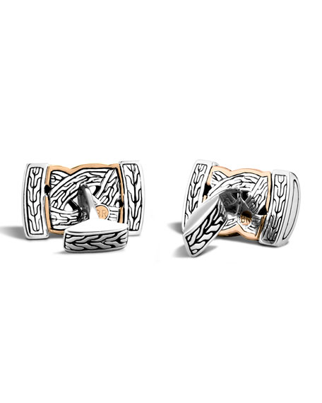 John Hardy Bronze & Sterling Silver Braid Cuff Links