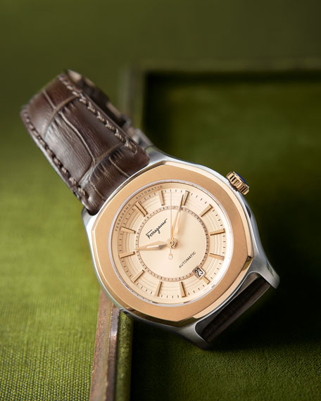 IP-Bezel Steel Automatic Watch, brown