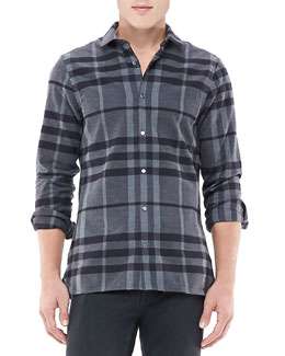 Burberry London Pulberry Shirt, Dark Charcoal Check