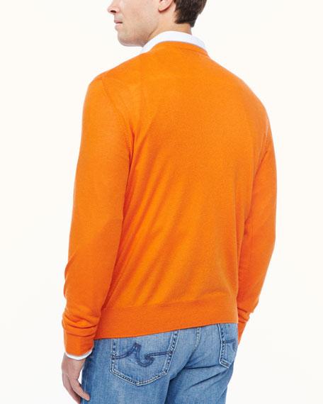 Tipped V-neck sweater, orange