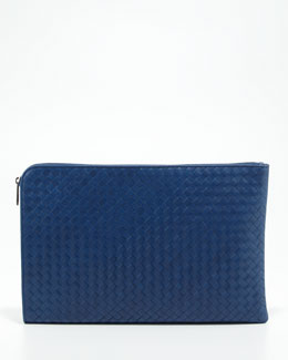 Bottega Veneta Large Woven Portfolio, Blue