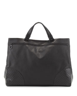 Bottega Veneta Men's Woven-Corner Tote Bag, Black