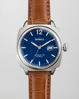 Shinola Brakeman Alligator Men's Watch, Blue/Tan