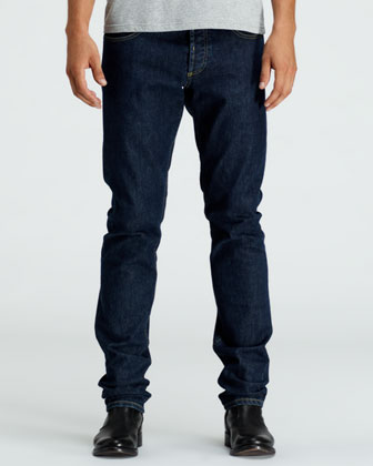 Stone-Wash Selvedge Denim Jeans, Blue
