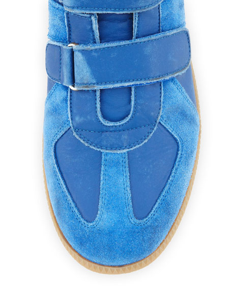 Three-Strap High-Top Sneaker, Blue