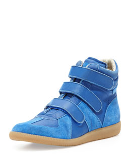 Maison Martin Margiela Three-Strap High-Top Sneaker, Blue