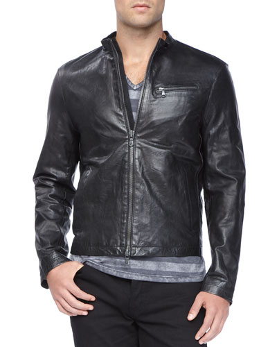 Tumbled Leather Moto Jacket, Black