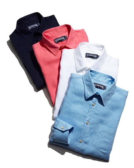Linen Long-Sleeve Linen Shirt Shirt, Light Blue
