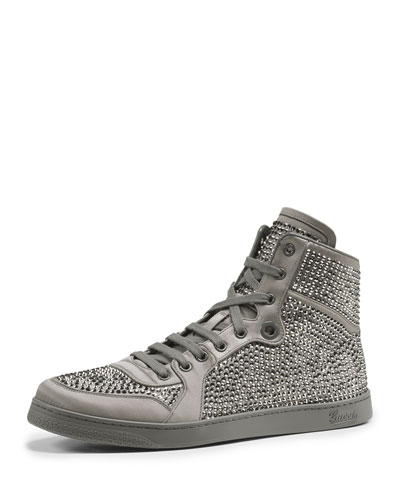 Gucci Studded Sparkle High-Top Sneaker, Platinum