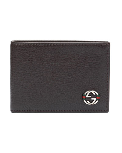 Ace Leather Mini Bi-Fold Wallet, Brown