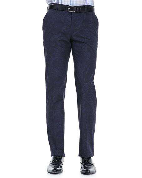 Tonal Paisley-Print Pants, Navy