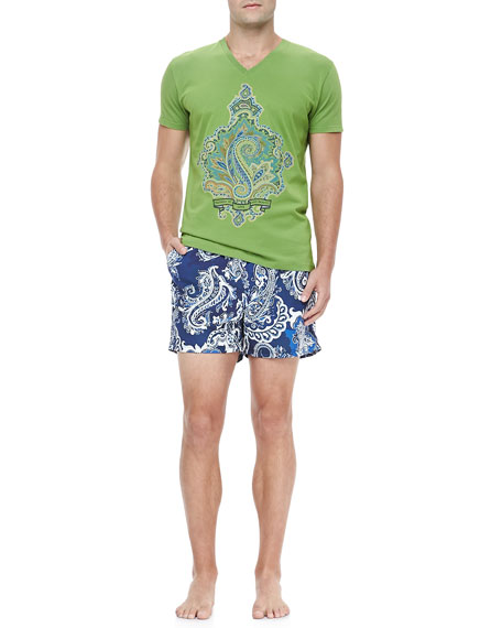 Paisley-Print Swim Trunks, Blue/White
