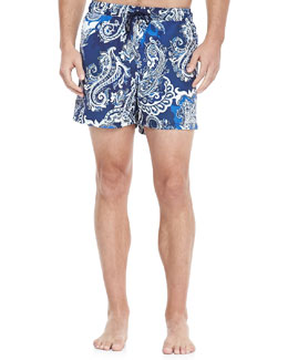 Etro Paisley-Print Swim Trunks, Blue/White