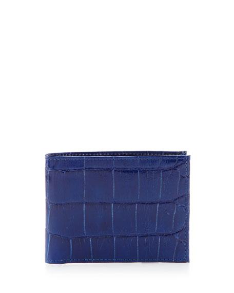 Neiman Marcus Alligator Bi-Fold Wallet, Blue