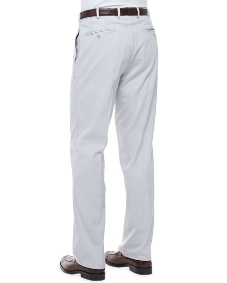 Raleigh Washed Flat-Front Pants, Light Gray