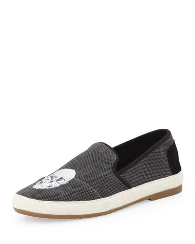 TOMS Sabado Canvas Skull Slip-On, Black