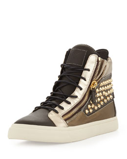 Giuseppe Zanotti Men's Metallic Stud Double Zip High-Top Sneaker