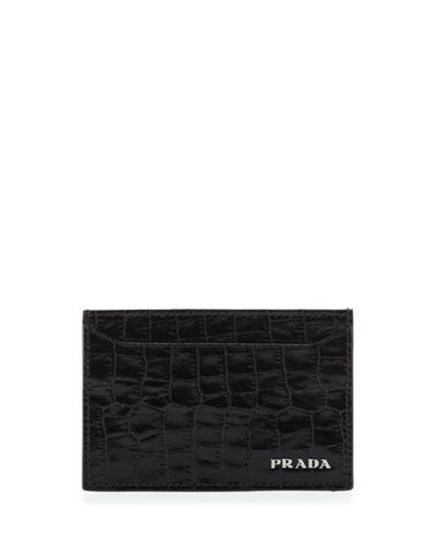 Croc-Print Card Case, Black