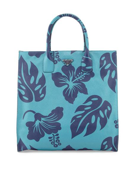 womens prada purse - Prada Men\u0026#39;s Hibiscus-Print Saffiano Leather Tote Bag, Turquoise