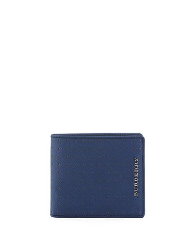Bicolor Perforated Bi-Fold Wallet, Blue/Tan