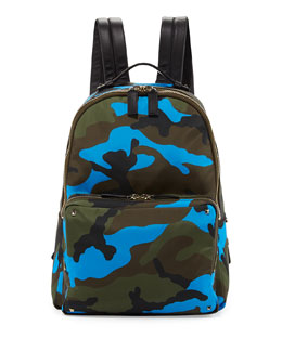 Valentino Camo Leather & Canvas  Backpack, Multi
