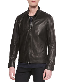 Vince Harrington Leather Moto Jacket, Black