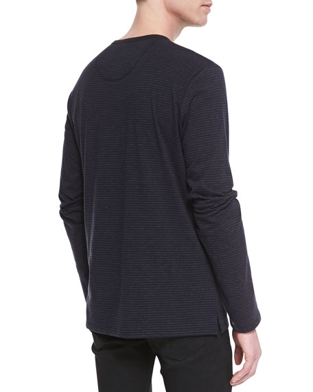 Long-Sleeve Striped Henley Tee, Navy