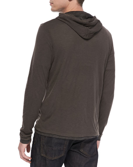 Double-Layer Hoodie Pullover, Gray