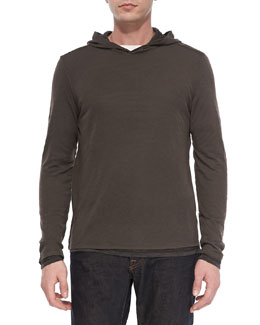 Vince Double-Layer Hoodie Pullover, Gray