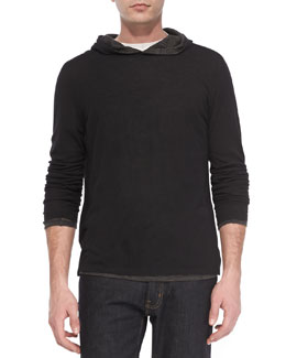 Vince Double-Layer Hoodie Pullover, Black