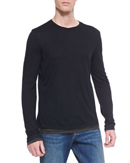Vince Double-Layer Long-Sleeve Tee, Navy