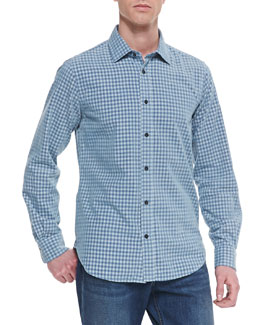 Vince Check Button-Down Sport Shirt