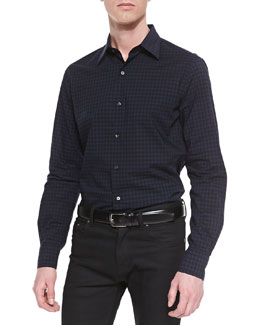 Vince Button-Down Check Sport Shirt