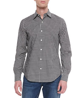 Vince Check Button-Down Sport Shirt, Black