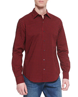 Vince Check Button-Down Sport Shirt, Red