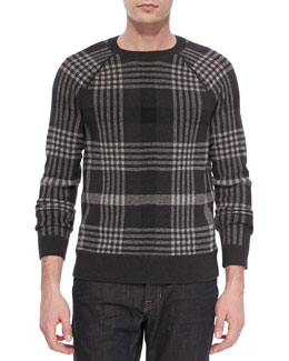 Vince Plaid Wool-Blend Sweater